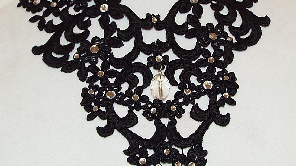 Black Lace Necklace With Clear Rhinestones and Cabochon
