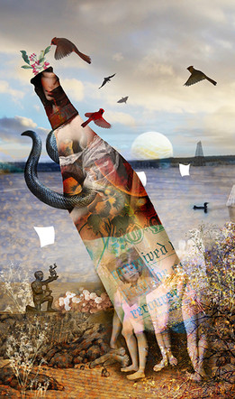 """Message in a Bottle #8   18"""" x 24""""   Digital Collage"""