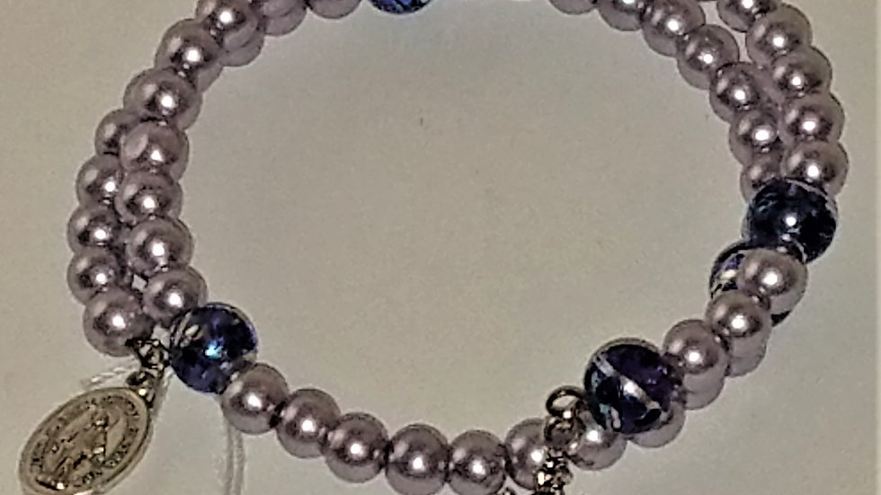 Silver & Blue-Purple Swirl Beaded Rosary Bracelet