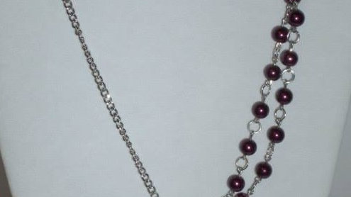 Purple Pearl Asymmetrical Necklace with Matching Bracelet & Earrings