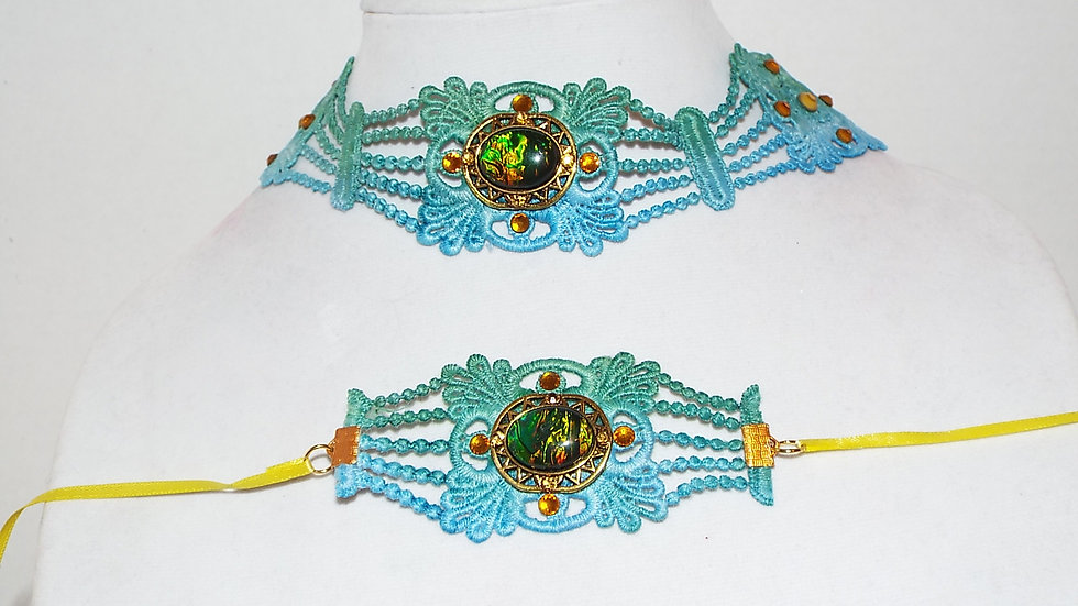 Ombre Green-Blue Lace Necklace & Matching Bracelet