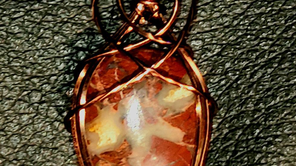 Rainbow Jasper Wrapped in Antique Copper Wire