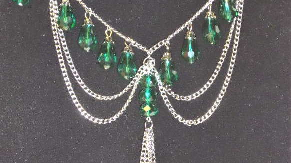 Emerald Bead Necklace With Silver Chain