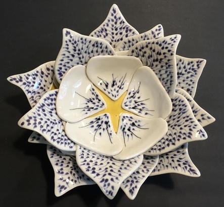 "Columbine Bowl | 4"" x 13"" x 13"" | Porcelain"