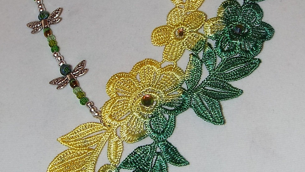 Asymmetrical Ombre Dyed Yellow & Green Lace Necklace