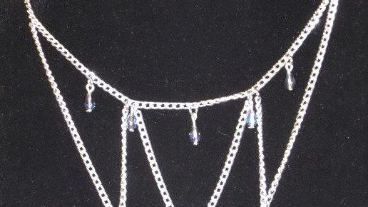 Multi Tear Drop, Silver Chain Necklace