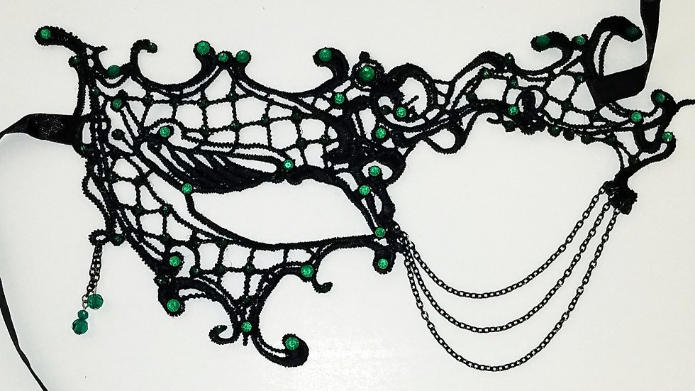 Black Lace Mask With Green Rhinestones & Black Chain