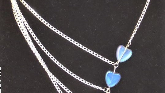 Asymmetrical Bluish Purple Heart Necklace With Silver Chain