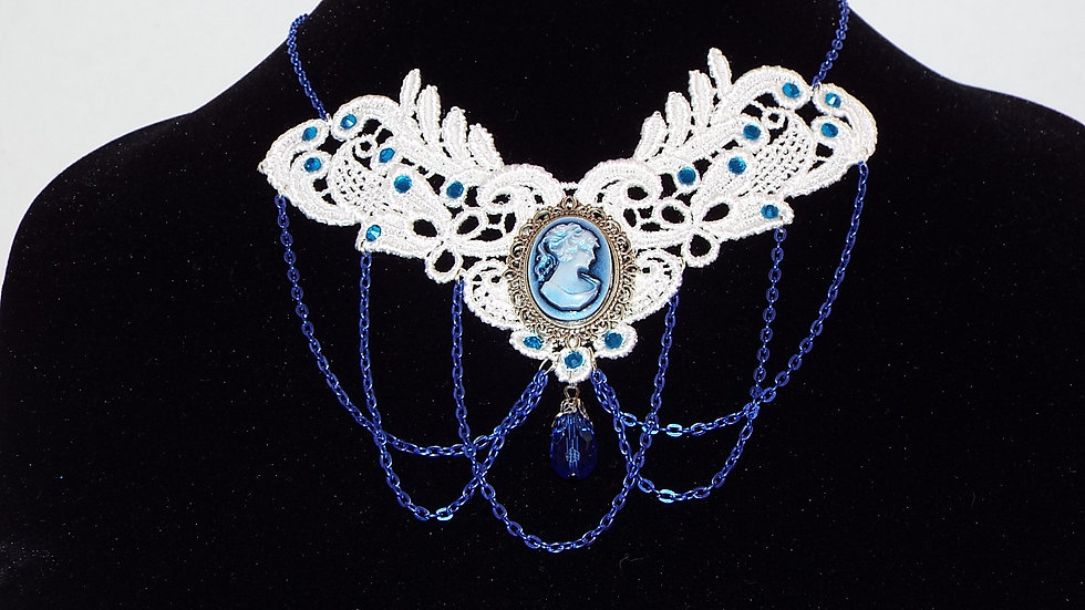 White & Blue Lace Choker