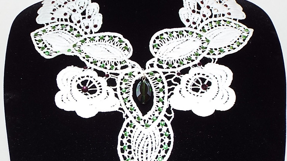 White Lace Necklace with Green Pendant
