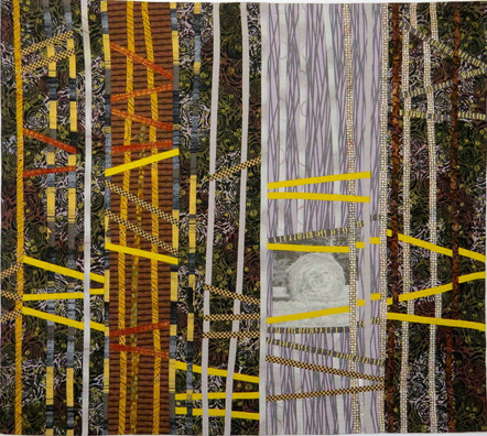 "In the Hay Field/Night | 39"" x 44"" | Fiber"
