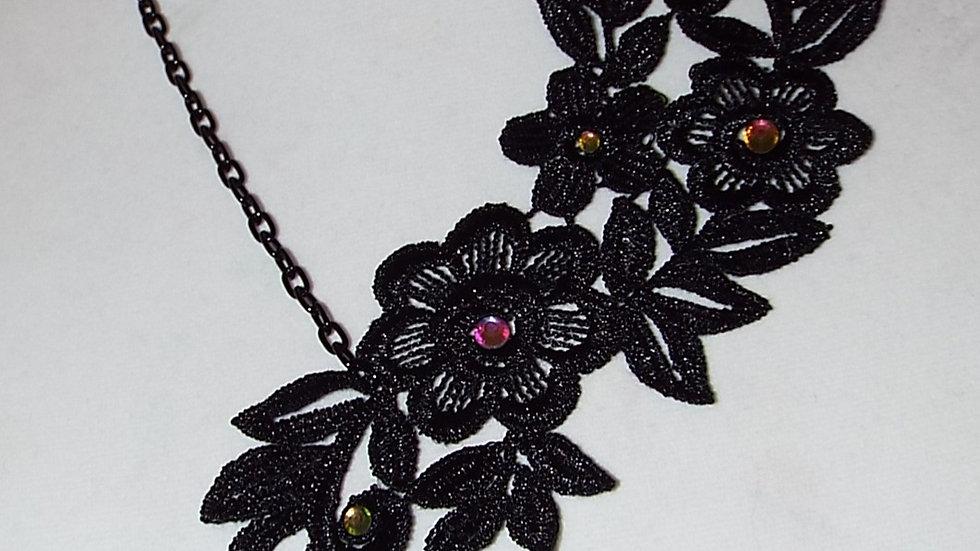 Asymmetrical Black Lace Necklace