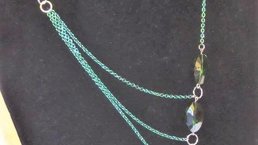 Asymmetrical Green Beaded Necklace