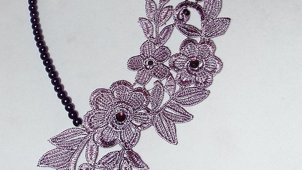 Asymmetrical Dyed Purple Lace Necklace