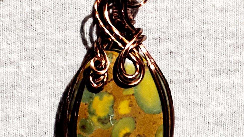 Fruit Jasper Wrapped in Antique Copper Wire