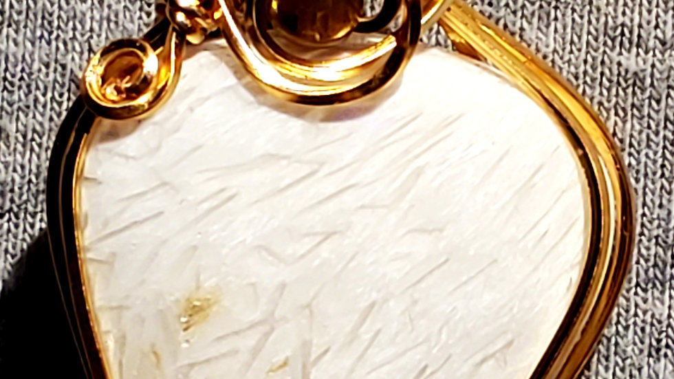 Scolecite Wrapped in Gold Wire