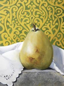 "Pear on Granite | 6"" x 8"" | Egg Tempera"