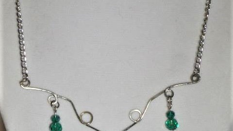 Wire Necklace With Green Heart and Bead Charms