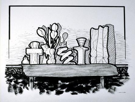 Spring Shelf   Pen and Ink