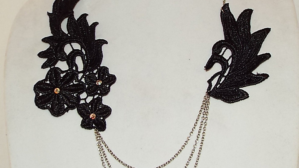 Asymmetrical Black Lace Necklace With Silver Chain