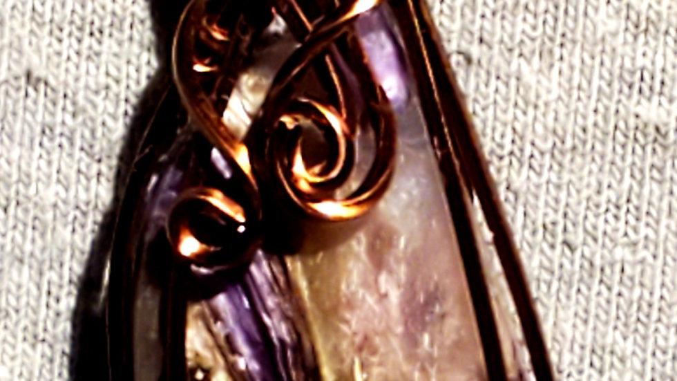Purple Charoite Wrapped in Antique Copper Wire