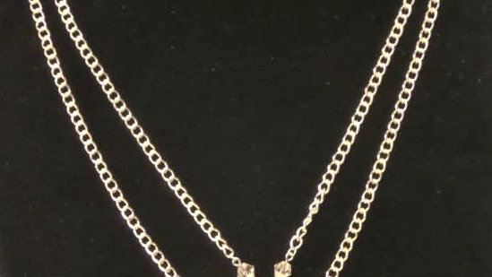 Double Silver Chain Necklace With Pink Chainmail Pendant