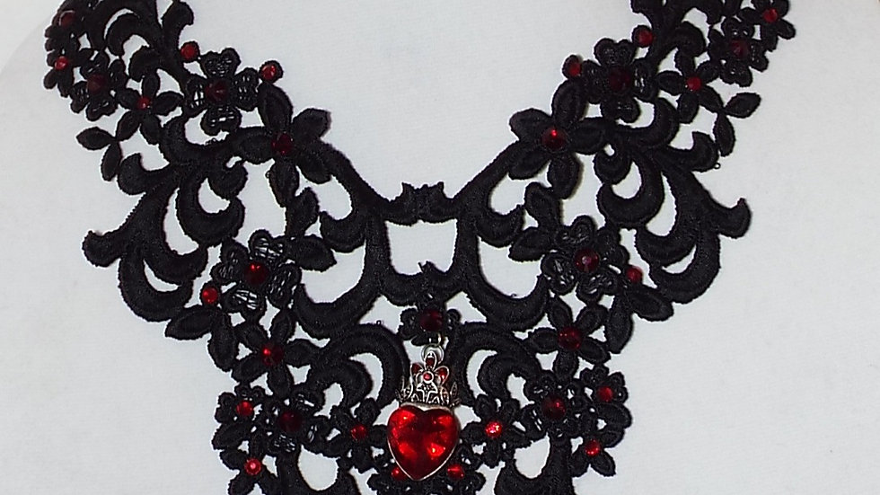 Black Lace Necklace With Red Rhinestones and Heart Pendant