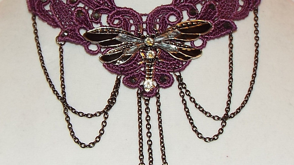 Purple & Black Dragonfly Lace Choker
