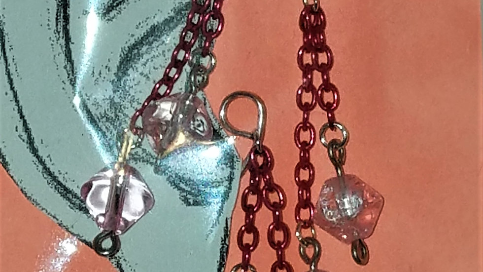 Silver Wire Ear Wrap With Pink Chain & Pink Bicone Beads, Single Dangle Earr