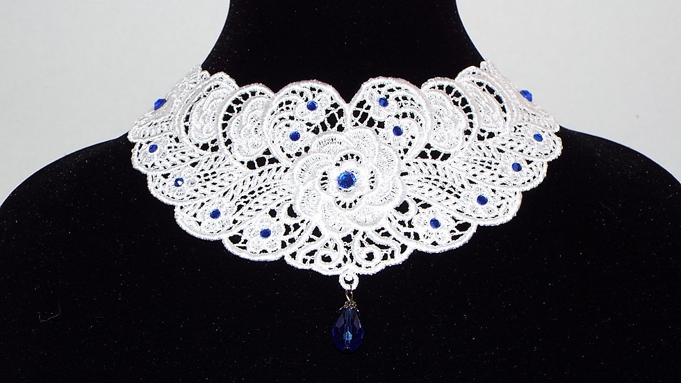 White Lace Necklace with Blue Rhinestones and Drop Stone