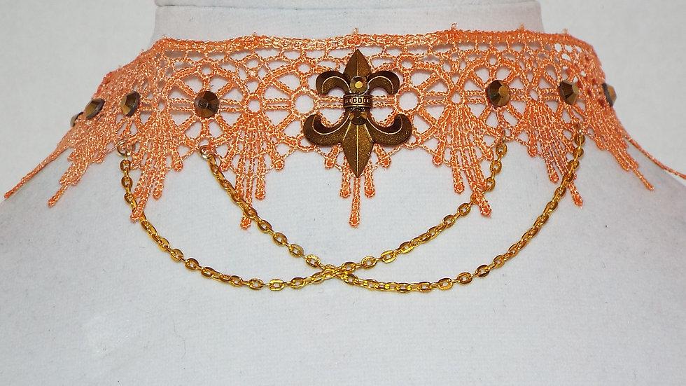 Orange Lace Choker