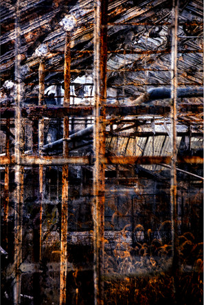 "Encaustic Interior   20"" x 30""   Photomontage"