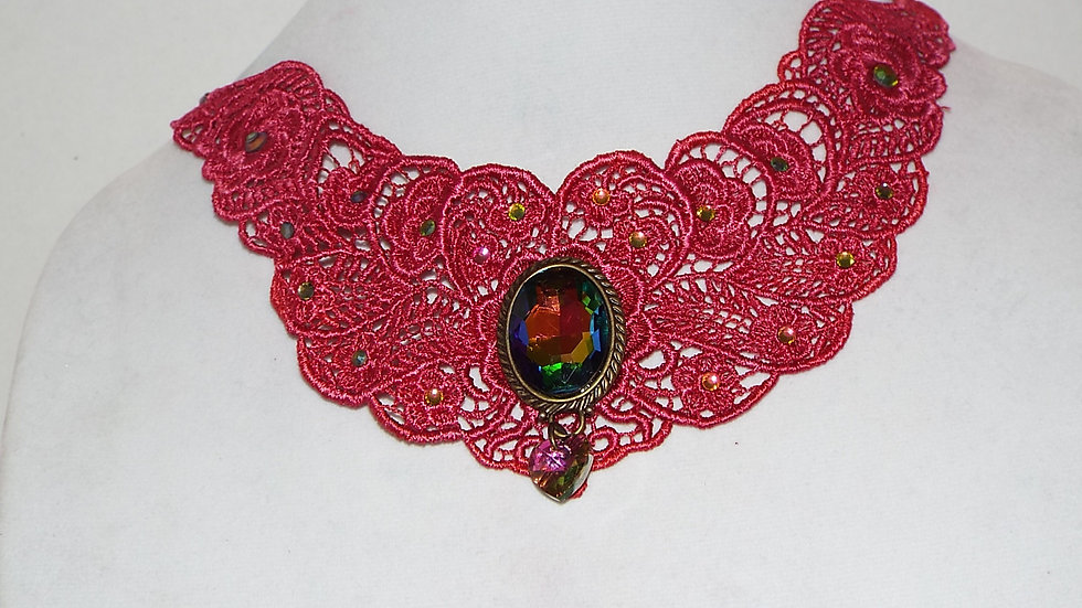 Dyed Pink Lace Necklace with Multi-color Cabochon