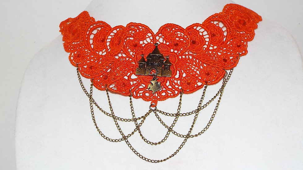 Dyed Orange Lace Necklace with Castle & Dragon Cabochon and Gold Chain