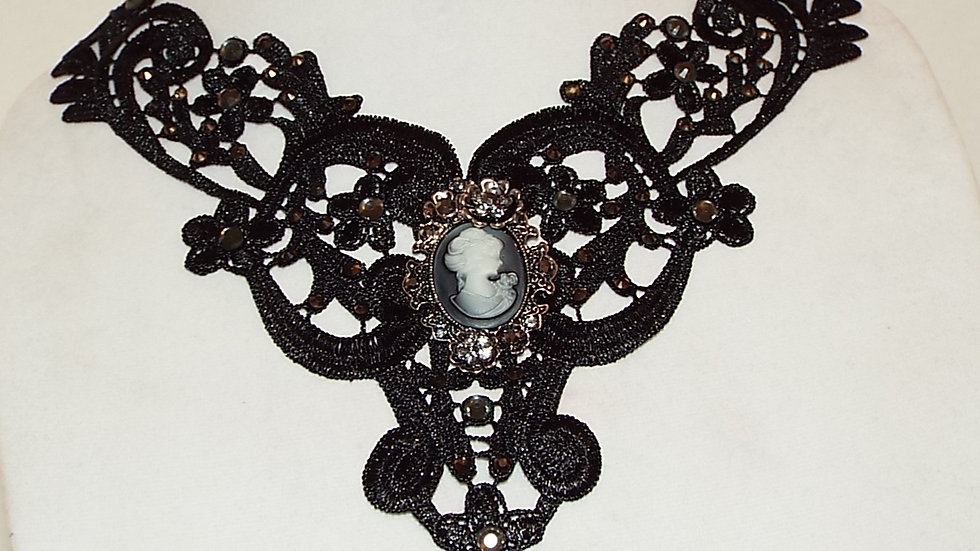 Black Lace Necklace With Black Rhinestones and Cabochon