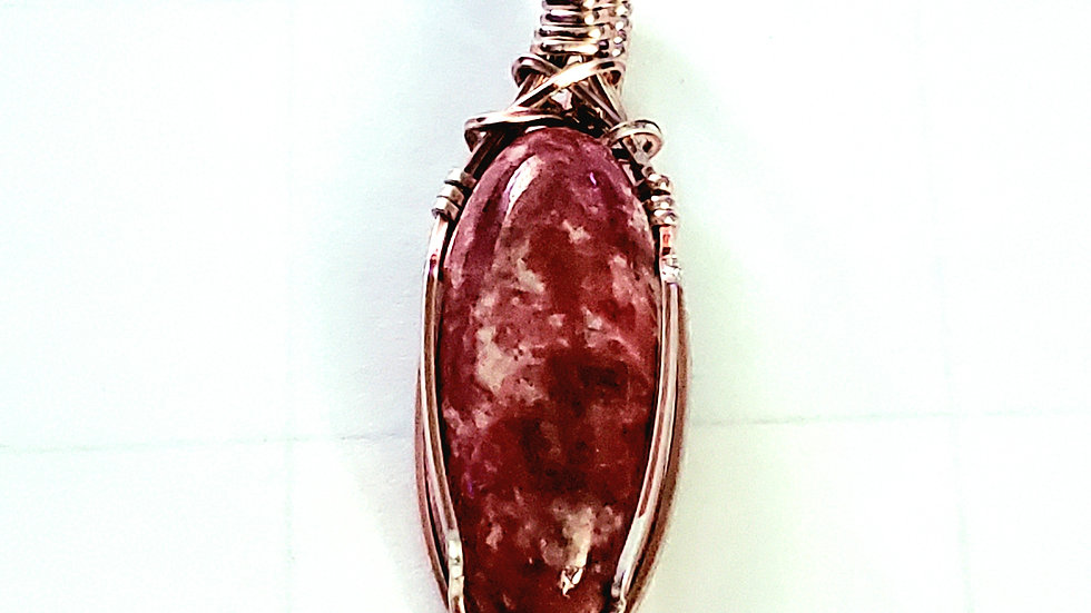 Pink Thulite Wrapped in Rose Gold Wire