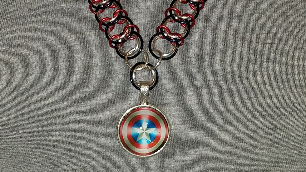 Captain America's Shield Pendant on Red, Blue & Silver Chainmail