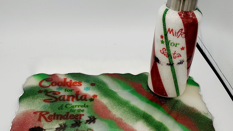 Santa's Milk jug & matching Cookies for Santa,  Carrots for the reindeer tray