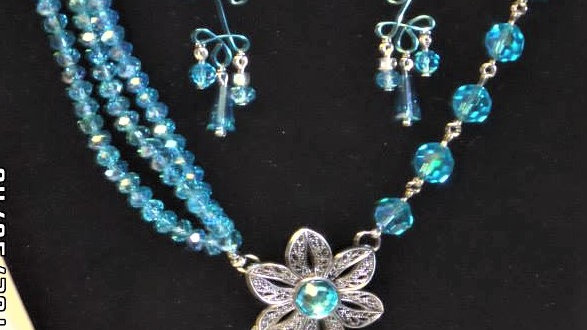 Asymmetrical Blue Bead Necklace with Matching Wire Earrings