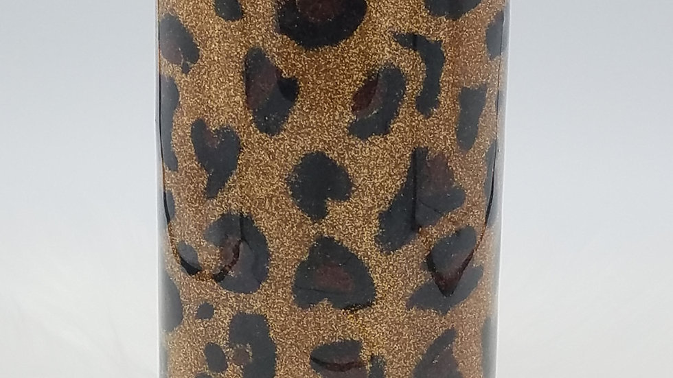 22 Oz. Glittered Leopard Double Walled Stainless Steel Tumbler