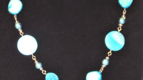 """Y"" Necklace Light Blue Natural Stones"