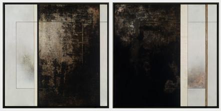 "Original Manuscript I & II (diptych)   (2) 27"" x 27"" panels   Mixed Media on Wood"