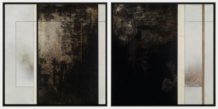 "Original Manuscript I & II (diptych) | (2) 27"" x 27"" panels | Mixed Media on Wood"