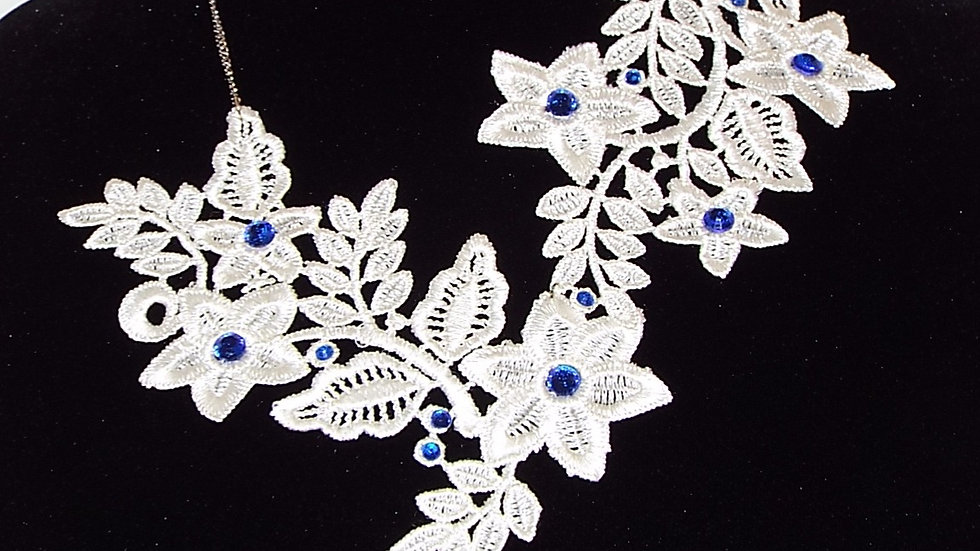 Asymmetrical White Lace Necklace with Blue Rhinestones and Drop Stone