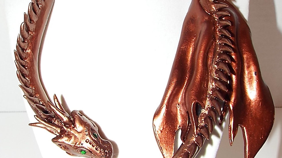 Baked Clay Dragon Drape Necklace