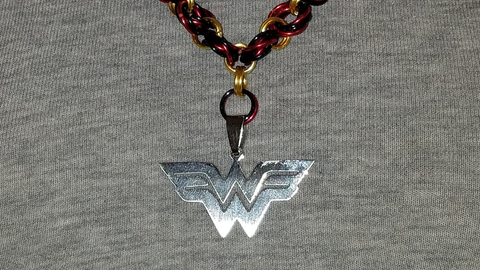 Wonder Woman Pendant on Red, Gold & Blue Chainmail