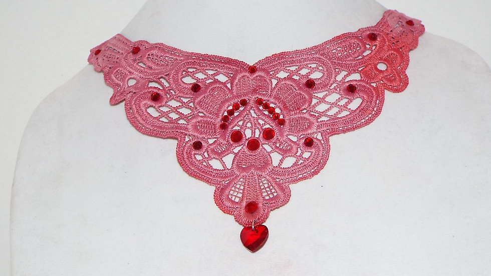 Dyed Red Lace Necklace with Red Rhinestones & Red Glass Heart Charm