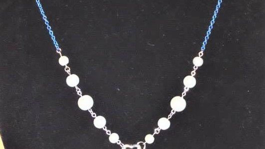 """""""Y"""" Necklace With White Pearls and Blue Chain"""