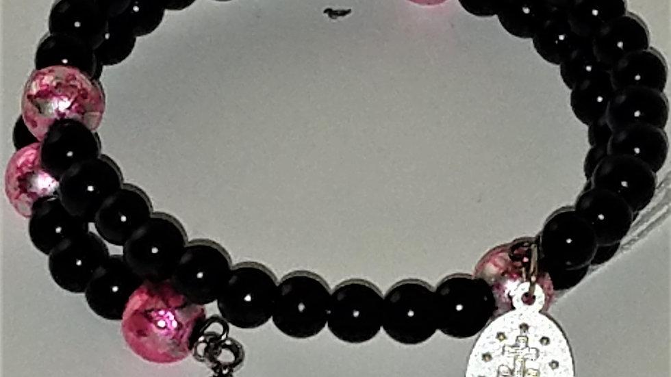 Pink & Black Beaded Rosary Bracelet