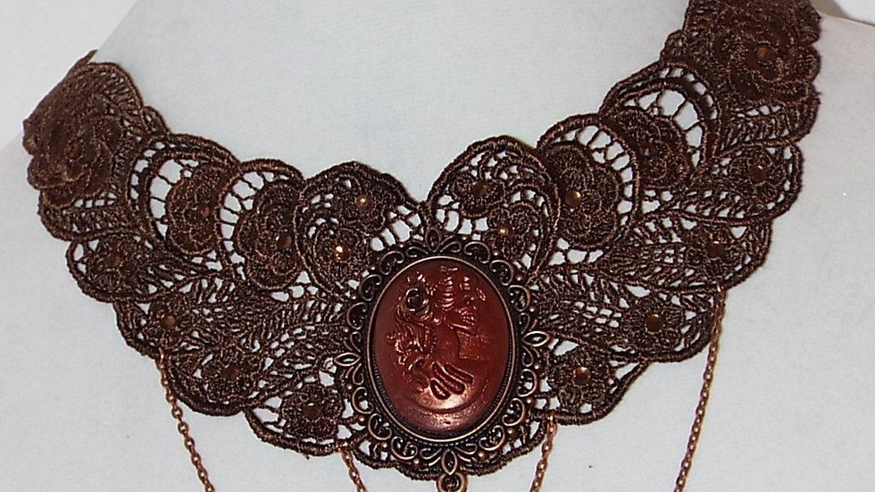 Dyed Brown Lace Necklace with Copper Skull girl Cabochon and Copper Chain